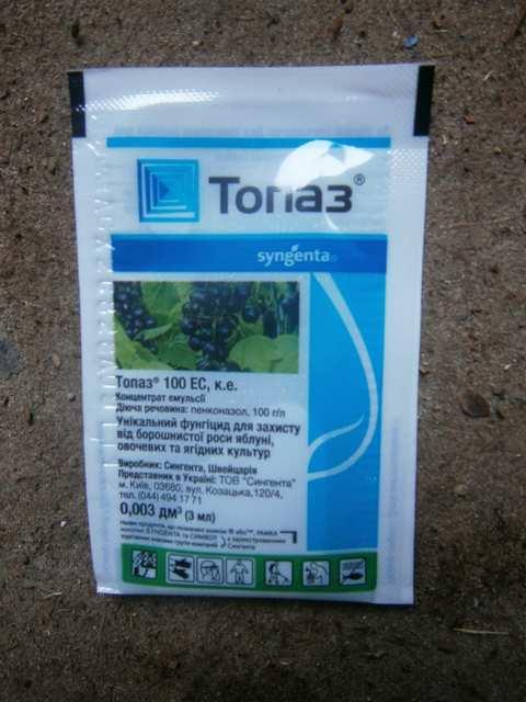 Топаз (Фунгицид системного действия, для борьбы с мучнистой росой, ржавчиной и другими грибковыми заболеваниями.)